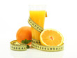 Orange juice with measure tape