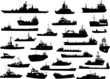 Set of 28 silhouettes of the sea cargo and military ships