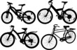Set of 4 silhouettes of a bicycle