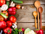 Fototapety Healthy Organic Vegetables on a Wood Background