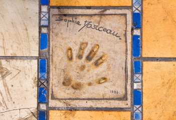 Print of a palm of a hand of the actor, Cannes
