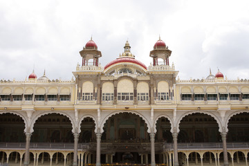 The facade if Mysore palace showing beautiful arches
