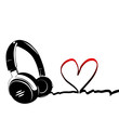 Heart with headphones - love of music