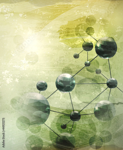 Background with molecules green, old-style