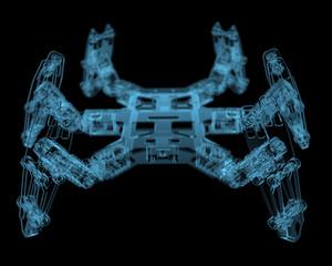 DIY hexapod robot (3D xray blue transparent)