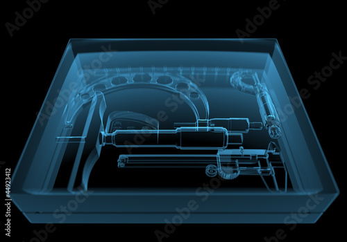 Box with instruments (3D xray blue transparent)