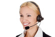 How can I help you? Call center operator woman