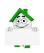 3D Haus mit Werbetafel - Grün