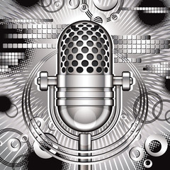 Music vector illustration with retro microphone.