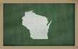 outline map of wisconsin on blackboard