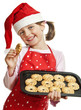 happy little girl baking Christmas cookies - white background