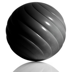 Black sphere created of spiral elements.