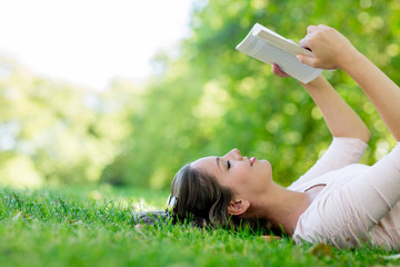 Woman enjoying a book