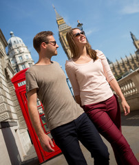 Couple walking the streets of London