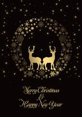Merry Christmas Kranz Hintergrund gold