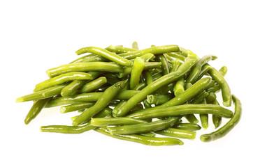 gekochte grüne Bohnen freigestellt