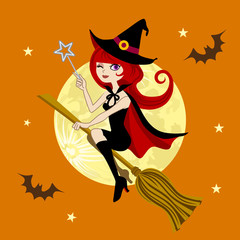 Halloween Witch and Full moon