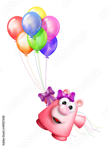 Whimsical Teddy bear and Birthday Balloons