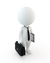 3d small people holding briefcase and tablet