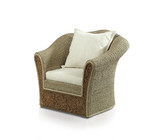 Rattan armchair and cushion on white