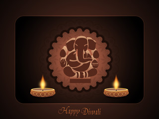 religious elegant background for diwali with beautiful ganesha.