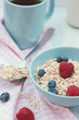 Oatmeal for breakfast with berries.