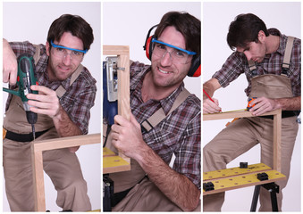 Collage of a carpenter at work