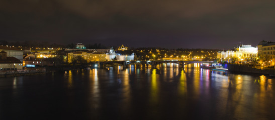 View from the Charles Bridge at night
