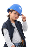 Little girl dressed as construction worker