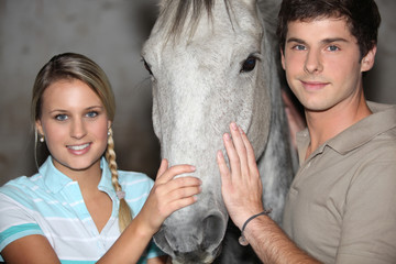 Teens with horse