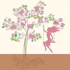 Decorative pink spring tree with flowers and girl