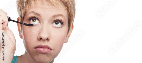 Attractive blonde make-up.  on white background