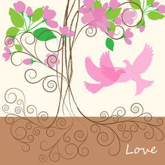 pink spring tree with dove