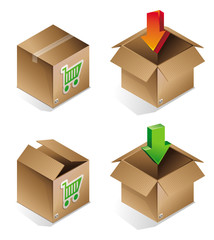 Vector icon of shipping box