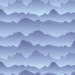 Mountains in the fog seamless pattern, vector