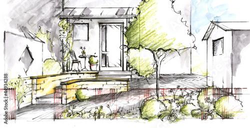 Papiers peints Jardin Garden plan View Sketch