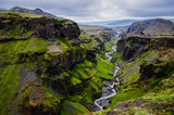 Fototapety Thorsmork mountains canyon and river, near Skogar, Iceland