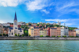 Lyon cityscape from Saone river with colorful houses