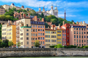 Lyon cityscape from Saone river with colorful houses, France