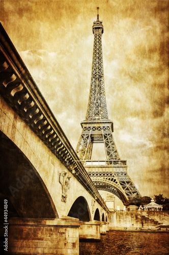 Eiffel tower vintage retro view from Seine river, Paris - 44934849
