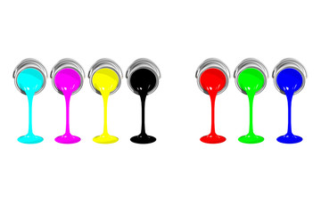 CMYK and RGB paint cans