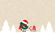 Dark Green Bird Pulling Candy Cane Sleigh With Gift Beige