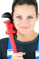 Portrait of a woman plumber