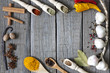 Exotic spices and empty grunge boards food background