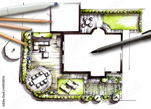 Gartenplanung - handgezeichneter Entwurf eines formalen Gartens - 44938076