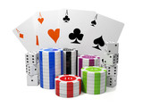 3d illustration: Entertainment gambling. Chips and playing cards poster