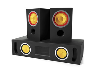 3d illustration: Group Audio Speakers