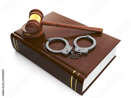 3d illustration: Legal assistance. Judicial gavel and law book,