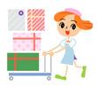 商品を運ぶ女性