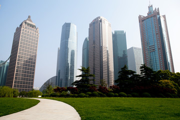 the modern building of the financial center in shanghai china